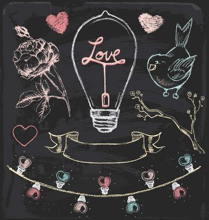 Hand Drawn Chalk Romantic Set