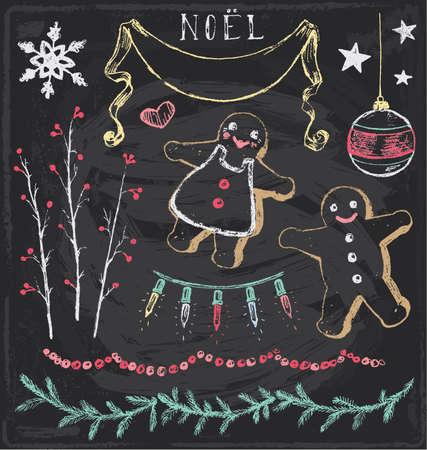 fir twig: Vintage Christmas Chalkboard Hand Drawn Vector Set 6
