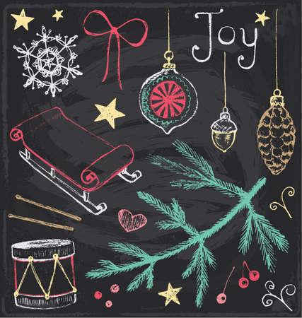 pine boughs: Vintage Christmas Chalkboard Hand Drawn Vector Set 4 Illustration