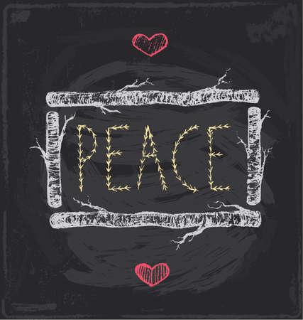 Vintage Christmas Peace Chalkboard Hand Drawn Vector Set