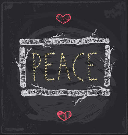 Vintage Christmas Peace Chalkboard Hand Drawn Vector Set
