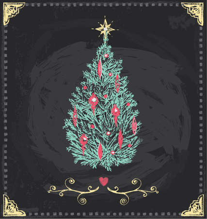 Drawn �rvore de Natal do vintage Quadro M�o Vector Set