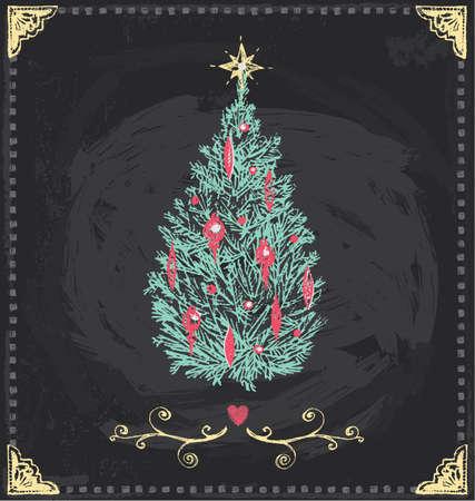 pine boughs: Vintage Christmas Tree Chalkboard Hand Drawn Vector Set Illustration