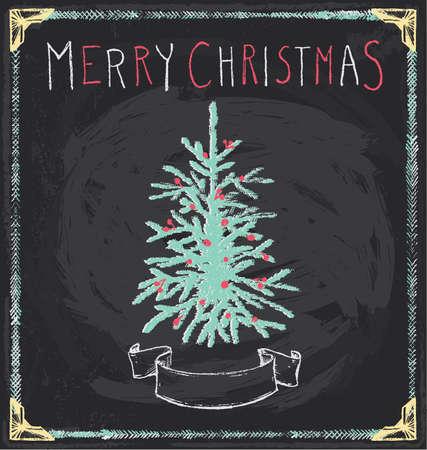 quaint: Vintage Merry Christmas Tree Chalkboard Hand Drawn Vector Set