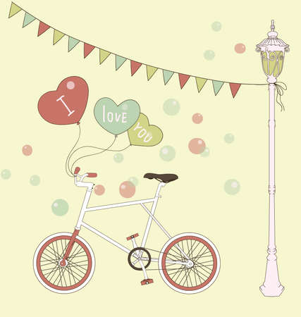 Cute card with balloons and bicycle  Great design greeting card for valentine s day   Vector