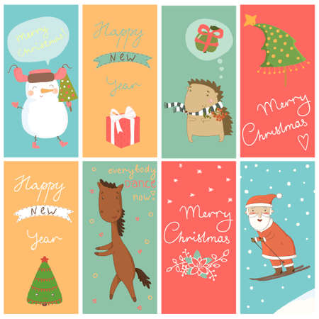 8 Christmas banner with cartoon characters Vector
