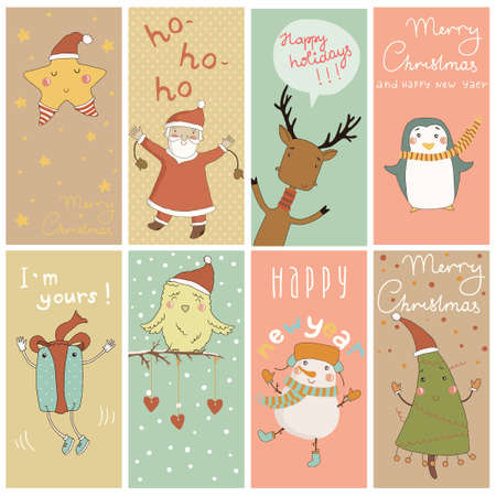 8 Christmas banner with cartoon characters Stock Vector - 24249223