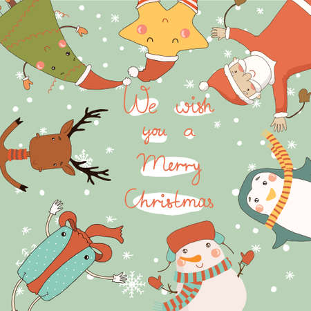 Christmas card with cartoon characters  Merry Christmas and Happy New Year  Vector