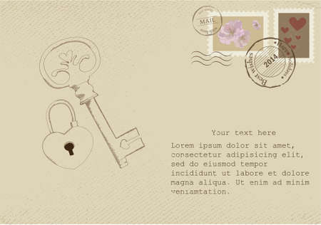 Vintage letter on old paper with retro post stamps and bird illustration   For Valentine day Vector