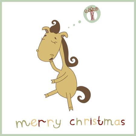 whose: Anno del cavallo di Natale e Capodanno carta Illustrazione di un cavallo sveglio del fumetto il cui sogno regalo di Natale