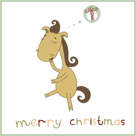 whose: Year of the horse  Christmas and New Year card  Illustration of a cute cartoon horse whose dream Christmas gift