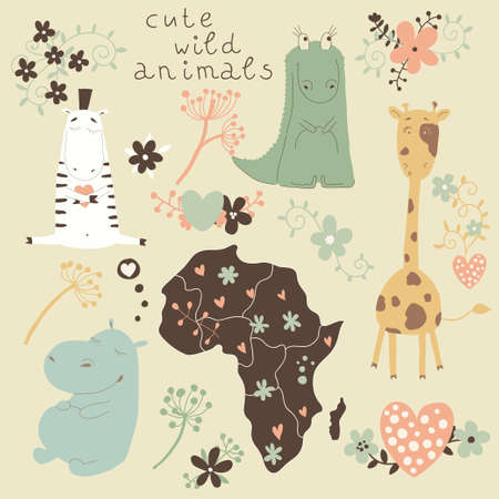 Cartoon set of wild animals and flowers  Cute cartoon characters in the vector   Vector