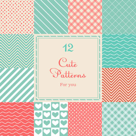 12 Cute different vector seamless patterns  tiling   Pink, red and blue color   Vector