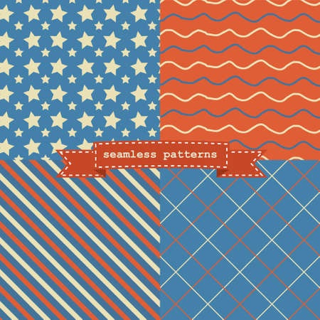 Set of simple retro Christmas patterns Vector