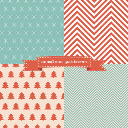 christmas pattern: Set of simple retro Christmas patterns Illustration