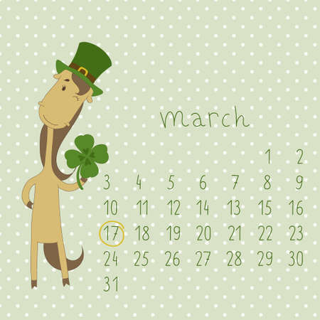 Calendar for march 2014  Calendar with the symbol of the eastern horoscope  Year of the Horse