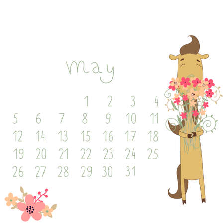 Calendar for May 2014  Calendar with the symbol of the eastern horoscope  Year of the Horse  Vector
