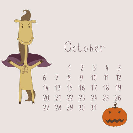 Calendar for October 2014  Calendar with the symbol of the eastern horoscope  Year of the Horse  Vector