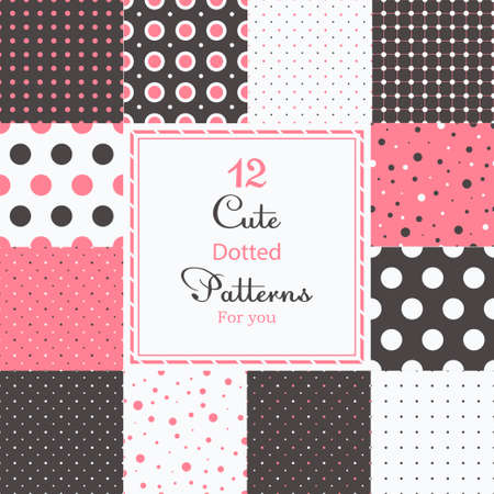 12 Cute different dotted vector seamless patterns  tiling   Polka dots set  Black, white and pink color  Vector