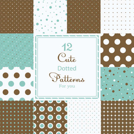 12 Cute different dotted vector seamless patterns  tiling   Polka dots set  Brown, white and blue color