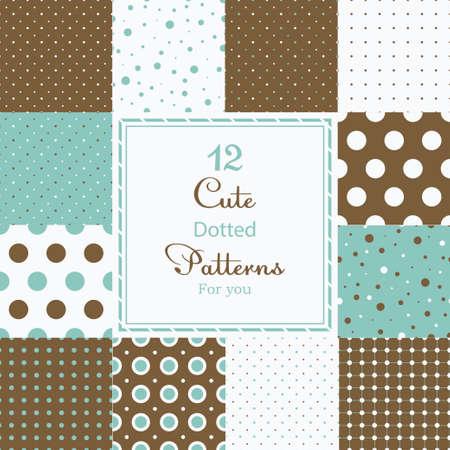 polka dotted: 12 vectores de diferentes puntos sin costura patrones de mosaico de puntos de polca lindos establecen Brown, blanco y azul Vectores