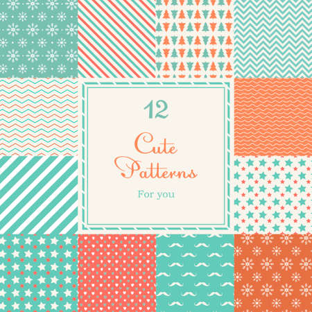invitation card: 12 Cute different vector seamless patterns  tiling   White, red and blue color