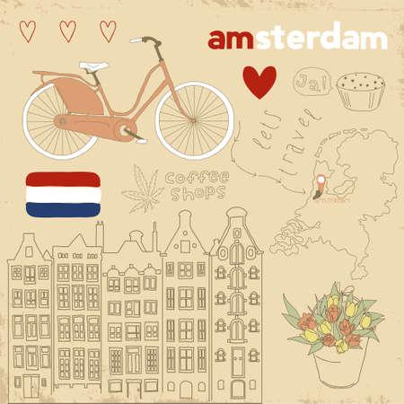 Vector set of Amsterdam symbols on vintage old papers   Illustration