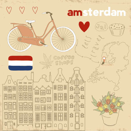 Vector set of Amsterdam symbols on vintage old papers   Vector