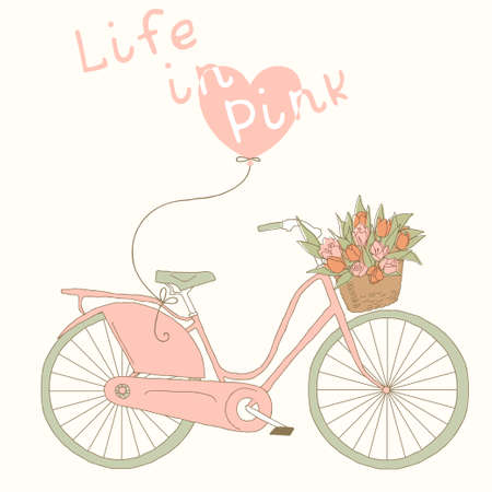 Valentine card with pink bicycle  Life in pink color Vector