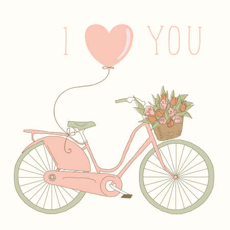 Valentine card with pink bicycle  I love you Vector