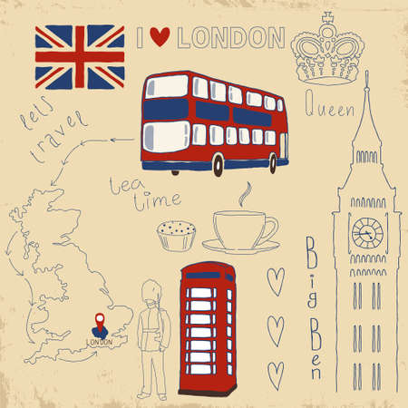 Vector set of London symbols on vintage old papers  Vector