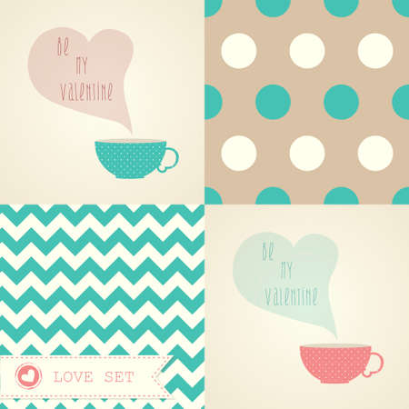 Valentines day card set with a cup of coffee or tea   Vector
