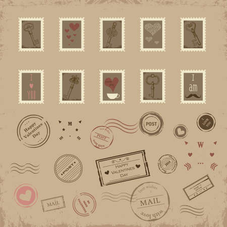 Vector collection of vintage post stamps for St  Valentine day Vector