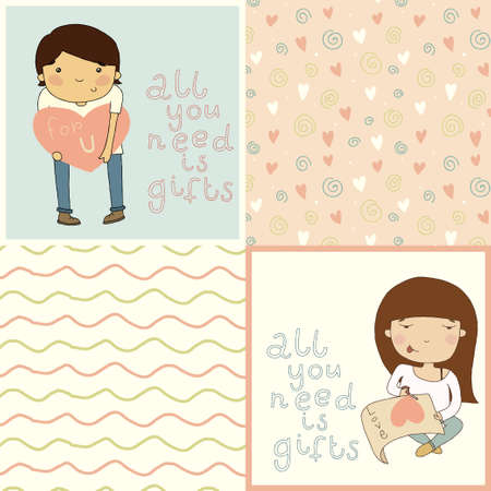 cheek: Set with cute kids card and lovely seamless patterns   Illustration