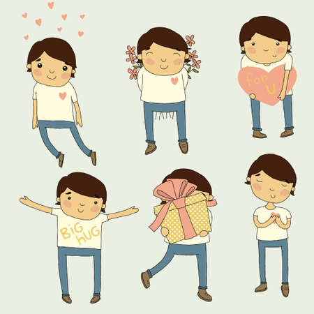 blonde hair cartoon: Valentine set boy in love  Vector cartoon illustrations