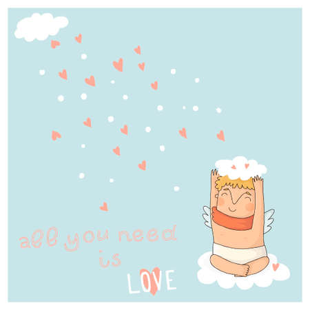 Card for valentine day with cute cupids  Vector