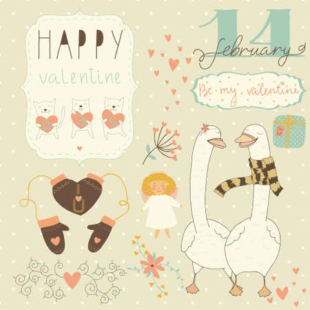 Set of different elements for design on Valentine's Day Stock Vector - 26043075