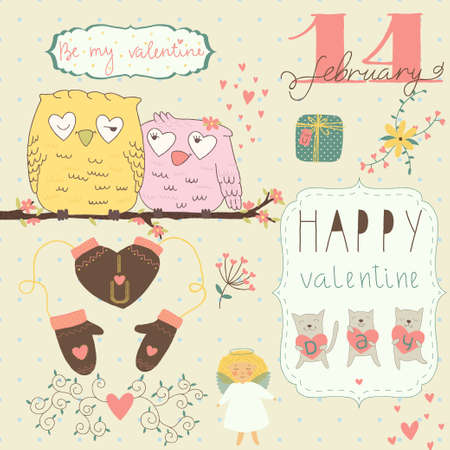 Set of different elements for design on Valentines Day Vector