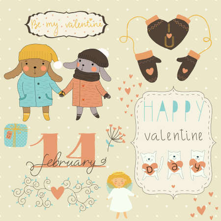 Set of different elements for design on Valentine's Day Vector