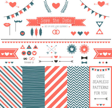 Set of elements for wedding design  save the date  The kit includes ribbons, bows, hearts, arrows and striped vector patterns Vector