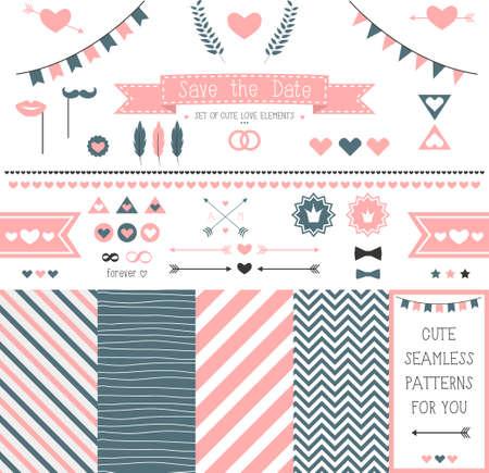 Set of elements for wedding design