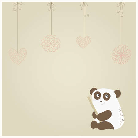 Card with a cute panda on paper background with hearts and flowers on a string Vector