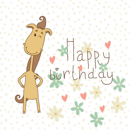 Happy Birthday Card With A Cute Horse On A Color Background Royalty