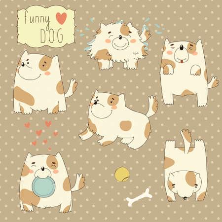 dog toy: Set with funny cartoon dog