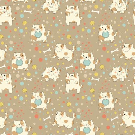 children s: Bright children s pattern with cute puppy  Illustration