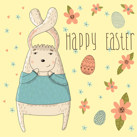 Happy easter cards illustration with easter rabbit  Vector