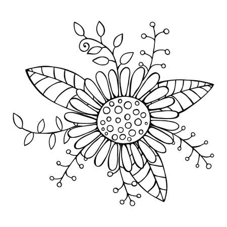 Hand Drawn Flower Isolated flower on white background Vector