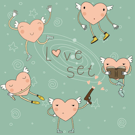 Set with cartoon cheerful hearts  Vector