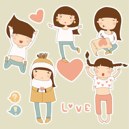 Valentine stickers with girl in love Vector