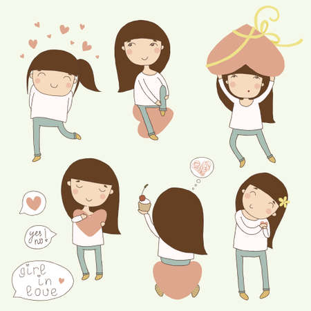 Valentine set girl in love cartoon illustrations Vector